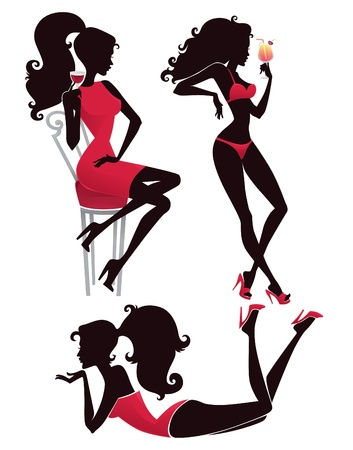 woman drinking wine: collection of hot summer, beautiful girl s silhouettes