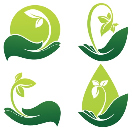 ecology emblem: green hands collection of ecological symbols and signs Illustration
