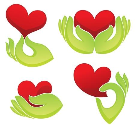 corazon en la mano: colecci�n de s�mbolos del coraz�n y la mano Vectores