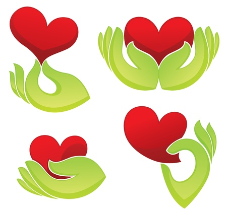 collection of heart and hand symbols Vector