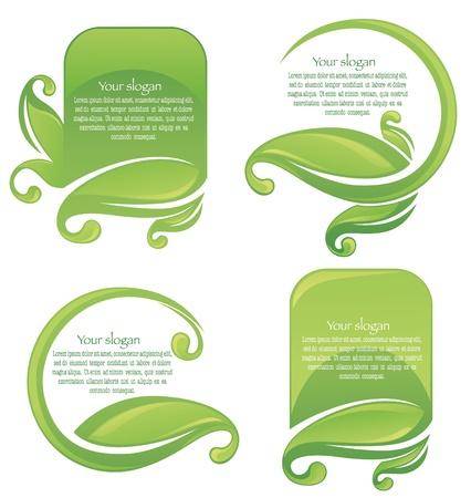 sticker design: collection of leaf frames and stickers Illustration
