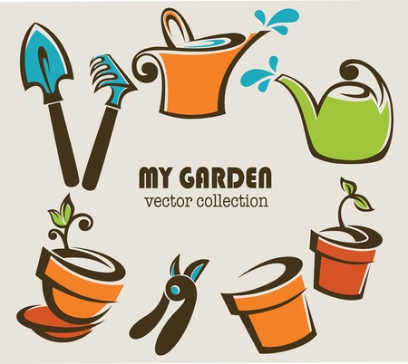my garden images of gardening stuff Vector