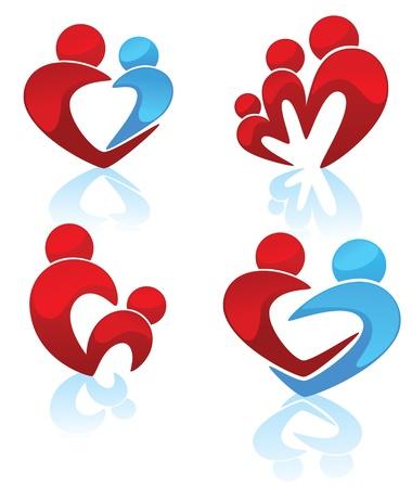 symboles de famille heureuse, les parents, enfant, homme et femme