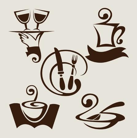 bandeja de comida: conjunto de signos y s�mbolos restaurante Vectores