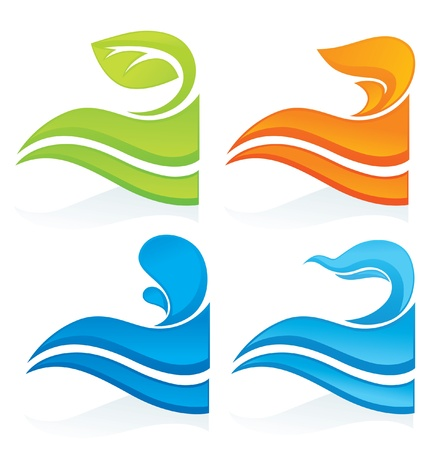 saubere luft: Natur Symbole dekorative Elemente Illustration