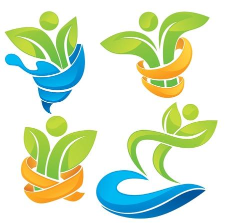 actifs biologiques de personnes symboles et de plantes