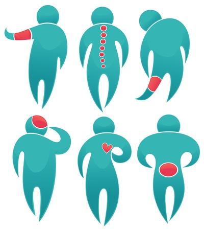 dolor muscular: colección de símbolos de dibujos animados humanos con puntos de dolor en sus cuerpos Vectores