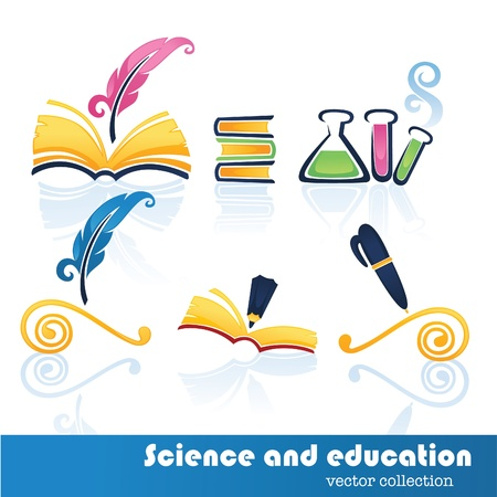 history book: science and education collection of icons and symbols