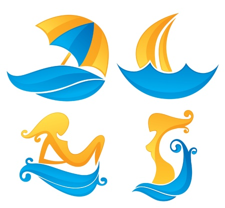 resorts: summer time collection of vacation symbols