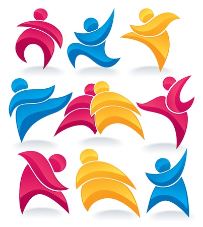 active life: collection of abstract, colorful, active people doing fitness Illustration