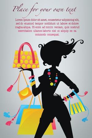 chicas de compras: bolsas de moda de la imagen feliz de las compras de Vectores