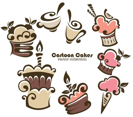 collection of cartoon cakes and sweets Vector