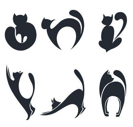 silueta de gato: colección de siluetas de gatos estilizados Vectores