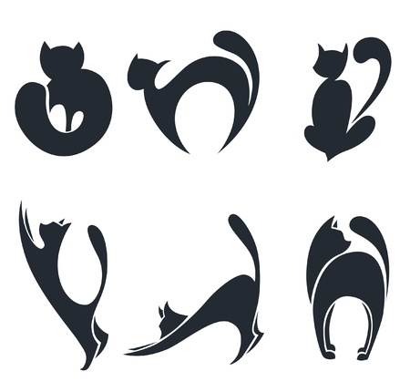 sit stay: collection of stylized cats silhouettes