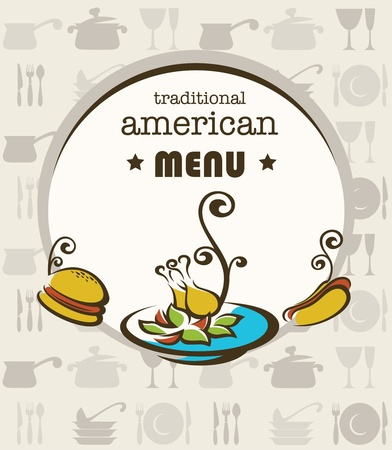 sausage dog: vector cover of traditional american menu