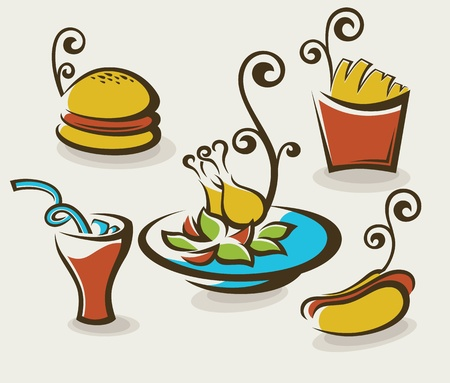 collection of unhealthy fast food Vector