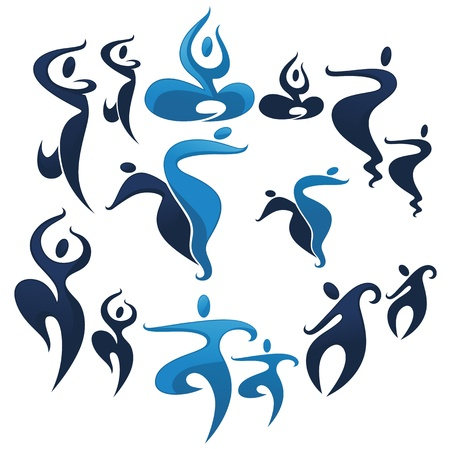 collection of stylized asian dancing people Vector