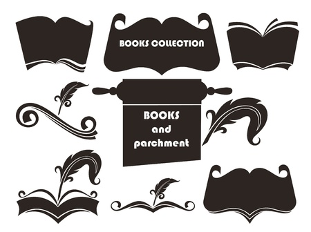 collection of food cooking books and dishes silhouettes  Vector