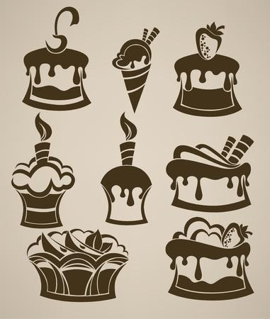 와플: 실루엣의 케이크, 아이스크림과 과자 컬렉션