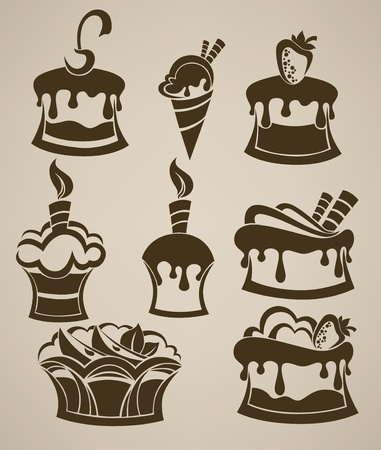 cakes, ice cream and sweets collection of silhouettes  Vector