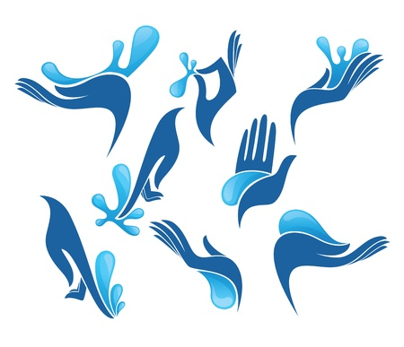 collection of clean women hands and fresh water  Vector