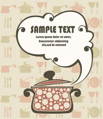 soup spoon: koken achtergrond met afbeelding van pot-en cloud voor tekst