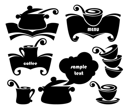 collection of food cooking books and dishes silhouettes Illustration