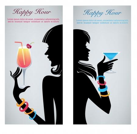 coctel margarita: bebe conmigo, antecedentes comerciales con im�genes de las bebidas y las siluetas las ni�as