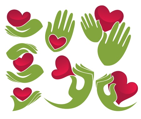 sportive: love in my hands, collection of green hands and bright red hearts  Illustration