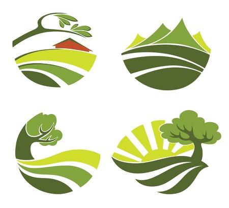 colección de símbolos del paisaje