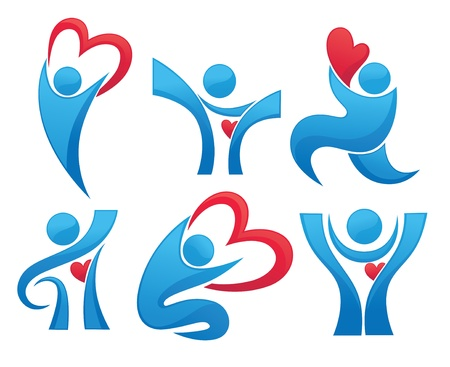 medical emblem: collection of health, hearts and people Illustration