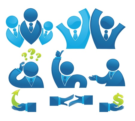employee development: business, office team and development collection of office symbols and signs