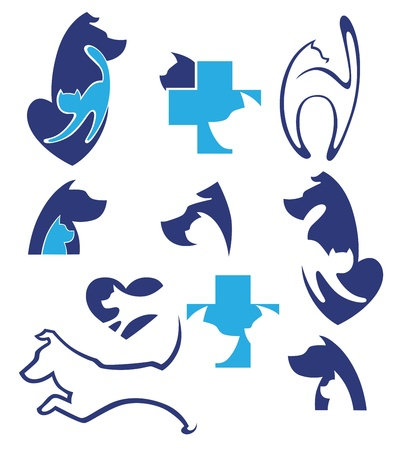 cats and dogs, pets collection Vector