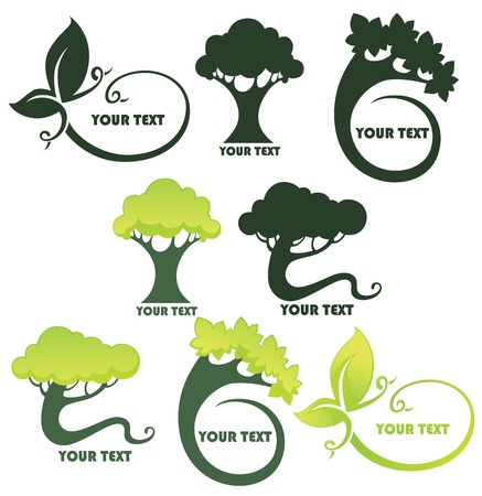 tree symbol:  collection of leaf and trees frames and forms  Illustration