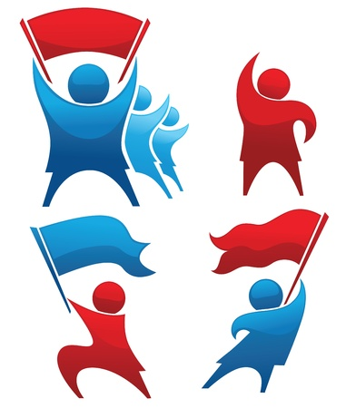 community group: collection of aggressive women,argue, strike and competition symbols