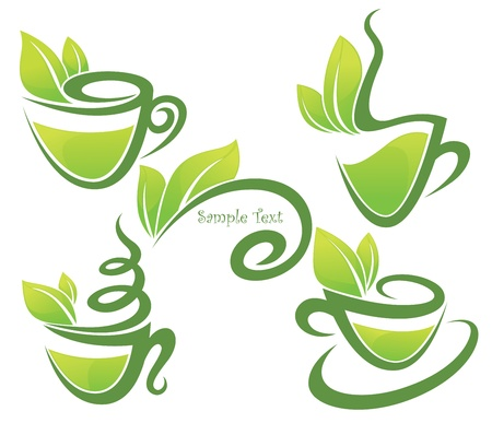 green tea, collection of forms, symbols and images Vector