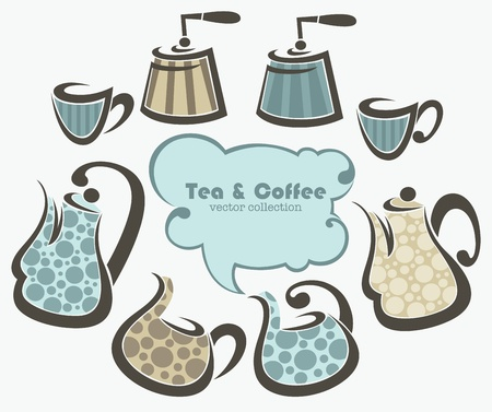 coffee and tea, collection f cups and pots  Stock Vector - 13950677