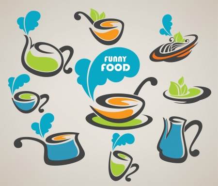 collection of everyday meal and cooking equipment Vector