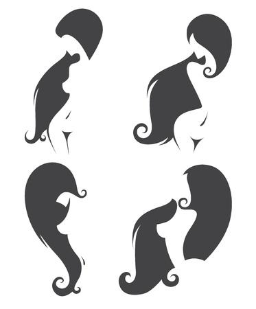 jeunes filles nues: vecteur de collecte des silhouettes belle filles nues avec des cheveux port�e