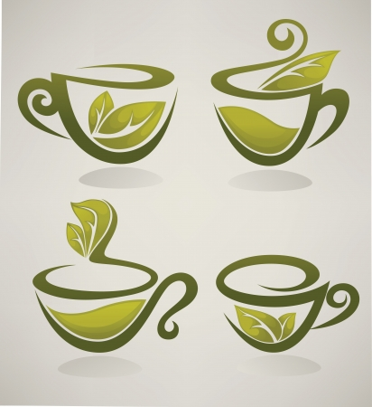 tea leaf: herbal tea collection of cups full of organic drinks  Illustration