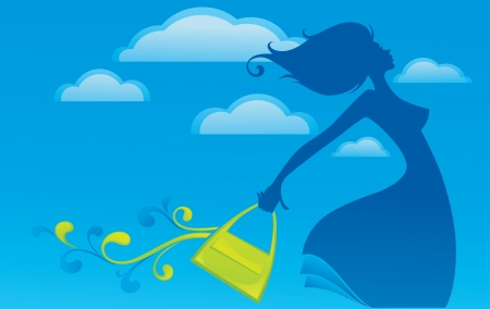 beauty center: flying bag, vector summer background with image of girl, sky and her favorite bag