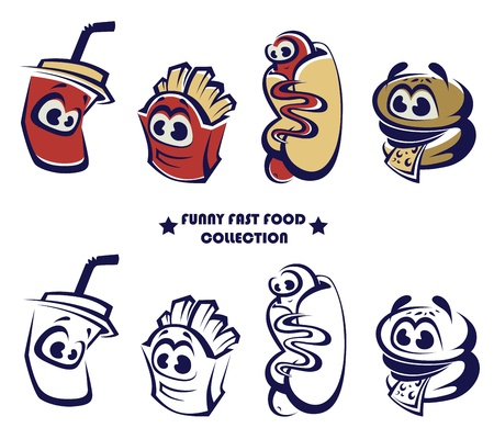 collection funny and cartoon american fast food Vector