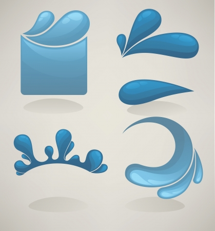 collection of water drops, stickers and frames for your text Vector