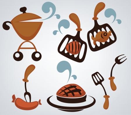Images dr�les de bande dessin�e et d'objets barbecue et symboles alimentaires