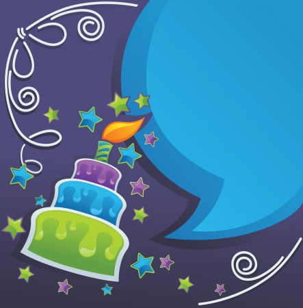 bday party: background with image of birthday cake, candle and speech bubbles