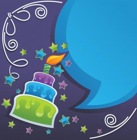 auguri di buon compleanno: sfondo con immagine di bolle di compleanno torta, candela e di parola