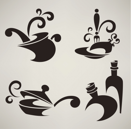 pans: collection of cooking equipment silhouettes and symbols Illustration