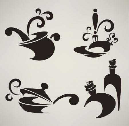 verzameling van kookgerei silhouetten en symbolen Vector Illustratie
