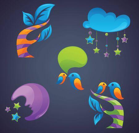 eco slogan: s�mbolos e iconos de fantas�a sobre fondo oscuro Vectores