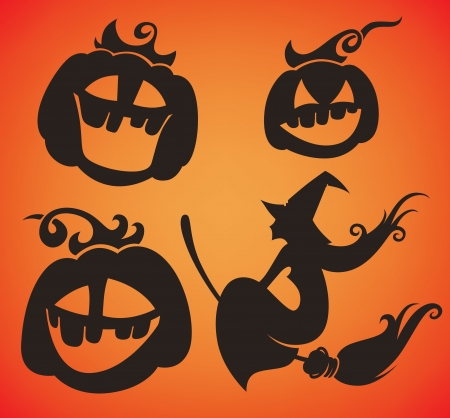 girl mouth open: vector collection of funny Halloween symbols